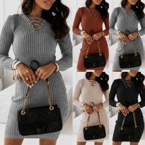 Sexy Lace-up V-neck Long Sleeve Solid Color Slim Fit Knit Dress