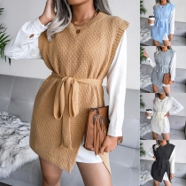 Fashion Solid Color Sleeveless Round Neck Slit Hem Knit Vest with Waist Strap