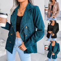 OL Style Long Sleeve Notched Lapel Double-breasted Blazer Jacket