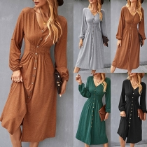 Sexy V-neck Long Sleeve High Waist Front-button Solid Color Dress