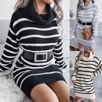 Fashion Long Sleeve Turtleneck Slim Fit Stripe Knit Dress