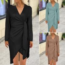 Fashion Solid Color Long Sleeve V-neck Irregular Hem Lace-up Dress