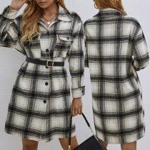Fashion Long Sleeve POLO Collar Single-breasted Plaid Shirt Dress