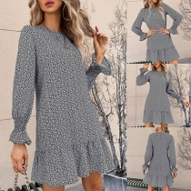 Fresh Style Long Sleeve Round Neck Ruffle Hem Printed Dress