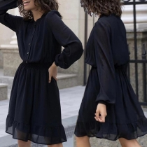 Fashion Solid Color Long Sleeve Stand Collar Elastic Waist Dress