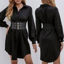 OL Style Long Sleeve POLO Collar Single-breasted Shirt Dress with Girdle