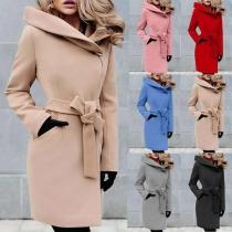 Elegant Solid Color Long Sleeve Lapel Slim Fit Woolen Coat with Waist Strap