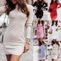 Simple Style Long Sleeve Mock Neck Slit Hem Solid Color Slim Fit Dress