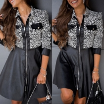 Fashion Leopard Spliced Long Sleeve Front-zipper PU Leather Dress