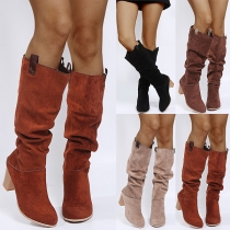 Fashion Thick High Heel Round Toe Knee-length Boots