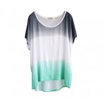 Gradient Color High-low Hem Round Neckline T-shirt
