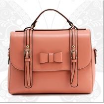 Sweet Candy Color Bowknot Strap Buckle Tote Handbag Shoulder Bag
