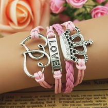 Hearts Multilayer Cute Crown Love Vintage Leather Infinity Bracelet
