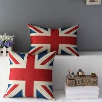 American / British Flag / Eiffel Tower Print Throw Pillow Home Decor