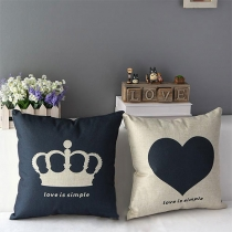 Crown / Heart Print Square Throw Pillow Office Home Decor