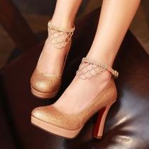 Bridal Court Shoes Glitter Stilettos Ankle Strap Rhinestones Platform Pumps