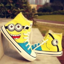 Despicable Me Yellow Minion Hand Painted High Top Sneaker Shoes