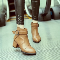 Fashion Thick Heel Pointed Toe Belt Buckle Ankle Booties