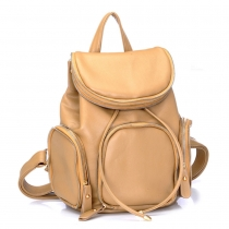 Chic Solid Color Zippers Drawstring Schoolbag Backpack Travelling Bag