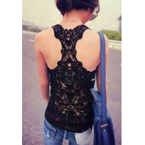 Crochet Lace Racer Back Tank Top Camisole Vest Basic Layer
