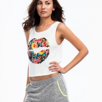Floral Lip Print Cropped Tank Top Muscle Tee