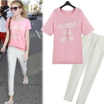 Casual Sweet Pink Blondie Letter Print Shirt with White Harem Pant Set