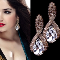 Fashion Rhinestone Water-drop Shaped Crystal Earrings