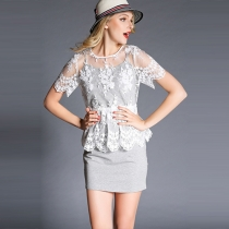 Fashion Embroidered Lace Spliced Slim Fit Dress