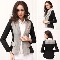 Fashion Contrast Color Long Sleeve Slim Fit Blazer