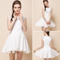 Elegant Lace Spliced Sleeveless Slim Fit White Dress