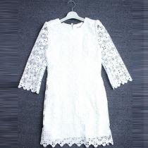 Fashion 3/4 Sleeve Round Neck Lace Dress