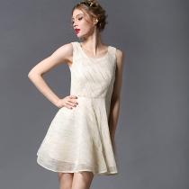 Fashion Round Neck Sleeveless High Waist Slim Fit Dress