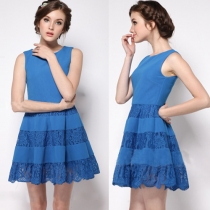 Feminine Style Lace Spliced Sleeveless Round Neck Dress