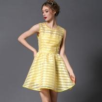 Elegant Round Neck Sleeveless See-through Yellow Dress