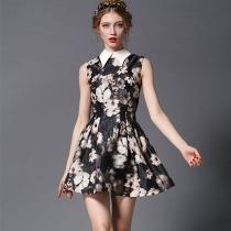 Fashion Peter Pan Collar Sleeveless Slim Fit Floral Print Dress
