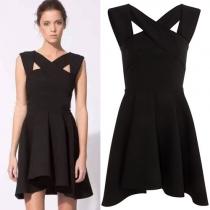 Elegant Solid Color High Waist Crossover Dress