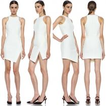 Fashion Slim Fit Slit Hem Solid Color Dress