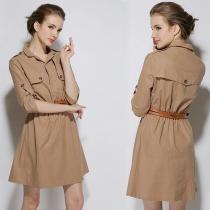 Retro British Style POLO Collar 3/4 Sleeve Dress