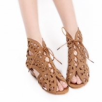 Fashion Hollow Out Peep Toe Wedge Heel Lace-up Sandals