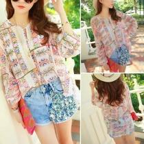 Fashion Floral Print Chiffon Shirt + Beaded Denim Shorts Two-piece Set