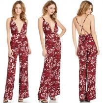 Sexy Backless Deep V-neck Floral Print Sling Jumpsuits