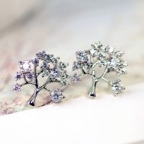 Fashion Rhinestone Tree-shaped Stud Earrings