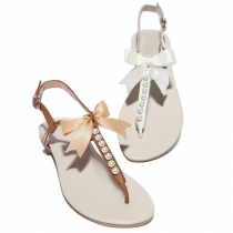 Bohemian Style Bowknot Pearls Beaded Flat Heel Thong Sandals
