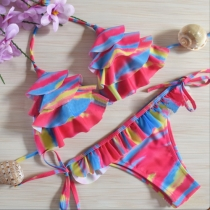 Sexy Multi-layer Flouncing Halter Bikini Set