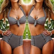 Sexy High Waist with Underwire Striped Bikini Set