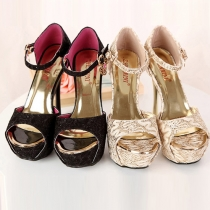 Elegant Super High-heeled with Platform Peep Toe Sandals