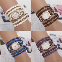 Retro Multi-layer Braided Watch Band Bracelet Watches
