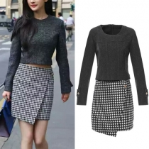 Fashion Long Sleeve Round Neck Woolen Tops + Houndstooth Skirt Two-piece Set