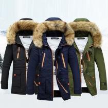 Fashion Long Sleeve Hooded Slim Fit Men's Overcoat