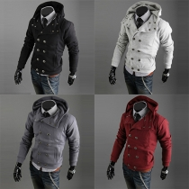 Fashion Solid Color Long Sleeve Double-breasted Men's Hoodies